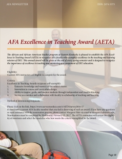 AFA EXCELLENCE IN TEACHING AWARD (AETA)